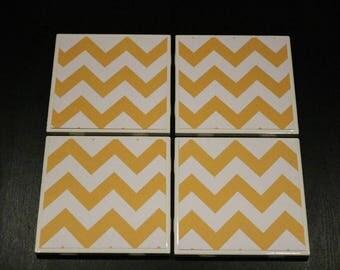 Yellow Chevron Coasters ~ Yellow Tile Coasters ~ Chevron Custom Coasters ~ 3Cstylesandprints~ Teacher Gift ~ Ceramic Tile Coasters