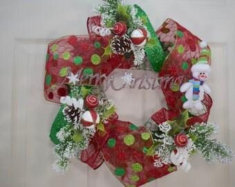 Christmas Wreath- Holiday Wreath- Xmas Wreath- Chicken wire Wreath- Snowman Wreath