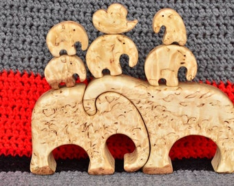Wooden Elephant Family Puzzle, curly birch, Luxury Gift for the Family Anniversary Wedding Christmas MasurBjörk // Visakoivu // carelica