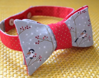 Winter Birds on Red Bow Tie