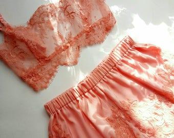 Lingerie set,  peach lingerie,  vintage lingerie,  lace lingerie,  French knickers,  silk lingerie,  satin lingerie