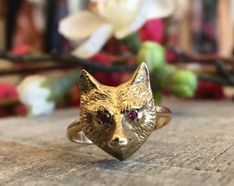 SALE Solid 14ct Gold Fox / Wolf Conversion Ringwith Ruby Eyes