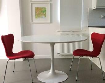 2 x very rare vintage red chairs Fritz Hansen design Arne Jacobsen series 7