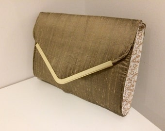 Gold satin clutch bag
