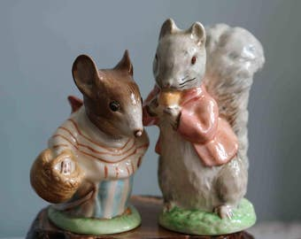 Pair of Royal Albert Beatrix Potter Figurines Timmy Tiptoes and Mrs Tittlemouse  Immaculate condition