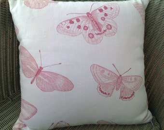 Pink Butterfly and Cream Linen Cushion, Pillow with Cream Velvet Reverse, with Pad and Concealed Zip