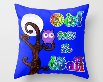 Cute Pillow, Owl Pillow, Cartoon Pillow, Blue Pillow, Quote Pillow, Rainbow Pillow, Moon Pillow, Purple Owl, Digital Art, Throw Pillow Cover