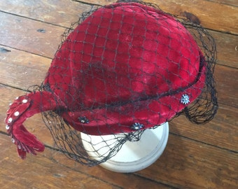 Red velvet hat with netting embellished steampunk cosplay costume renaissance vintage