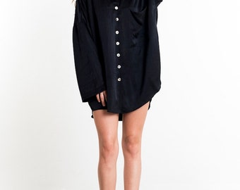 Bianca Oversized Silk Shirt Black