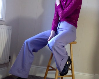 1970s wool flared turn up lilac pants trousers Size 8