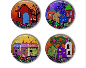 Funky Houses magnets or pins, whimsical magnets or pins, refrigerator magnets, fridge magnets, office magnets (2)