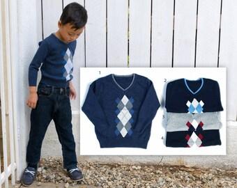 Slim Fit Argyle V-Neck Sweater