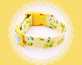 Yellow Rose & Daisy Flowers Dog or Puppy Collar
