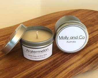 Watermelon - Natural Soy - Scented Candle in 4oz travel tin