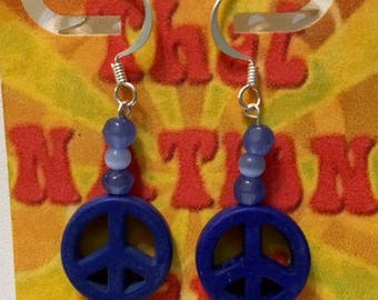 That NATION Band Sterling Silver Howlite Peace Symbol Earrings