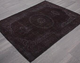 Turkish Vintage Overdyed Rug ,Carpet ,Anatolian Vintage area rug -wool rug-Handmade,Black, 187x277=5.18 m2,6x9 ft