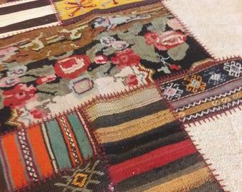 Turkish Patchwork Kilim ,Rug ,Carpet ,Anatolian Besarabian,Karabag Kilim Patchwork,Antique Hemp wool rug-Handmade, 170x240=4.08 m2,6x8 ft