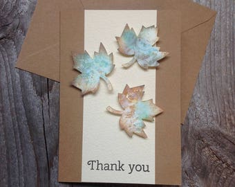 Fall thank you card, thanksgiving card, handmade, maple leaf card, thank you card, fall leaves card, thank you card, handmade leaves,
