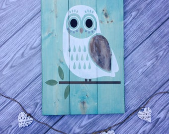 Little Owl • Rustic wood sign
