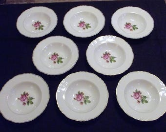 "Vintage Syracuse China * ROSALIE * 8"" Rim Soup Bowls, 8 available"