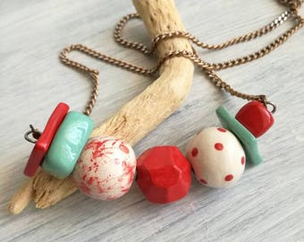 Ceramic beads necklace red, teal
