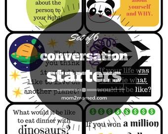 Printable Conversation Starter Cards Start Set of 6