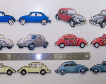 V.W.Beetle cars  6 X designs mirrord Pack of 12 cars