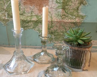 Glass candlesticks - vintage trio of pressed  glass candlesticks - glass vintage candleholders
