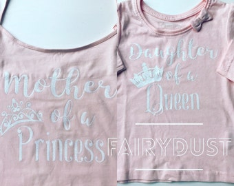 Cute Matching Mother Daughter Tshirts Queen Princess