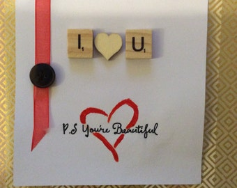 Simple Valentines Scrabble Design Handmade Card, For him or Her, just to say I love you