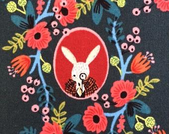 Alice in Wonderland Fabric | White Rabbit | Mad Hatter | Flowers | Dark Green | Wonderland Portraits | Cameos Green | Rifle Paper Co.
