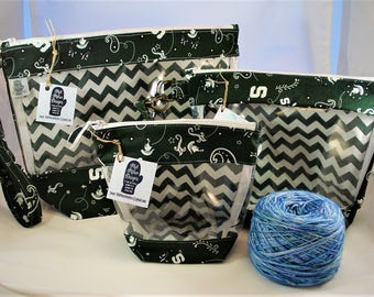 Knitting Project Bag, Zippered Project Bag, , Yarn Tote Bag, Yarn Bag, Knitting bag, Go Green,  MSU, Michigan State University.