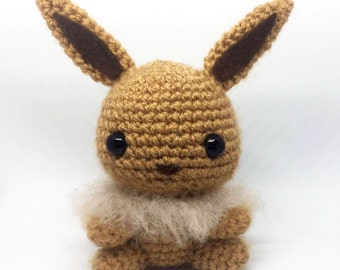 Eevee Amigurumi. Crochet Pokemon. Stuffed toy plushie. *OFFER* Buy 2 or more pokemon and receive a free pokeball