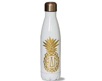 ADPI  Alpha Delta Pi Sorority Stainless Steel Water Bottle With Gold Pineapple Greek Letter Design.