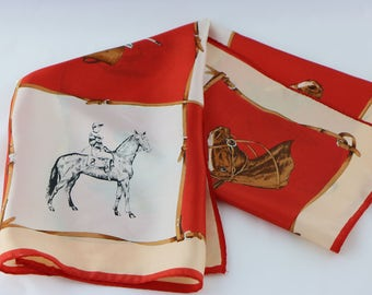 Vintage Equestrian Scarf, Square Scarf, Horse Scarf, Equestrian Clothing, Equestrian Gift, Horse Lover Gifts, Horse Gifts, Red Scarf, Derby