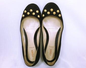 FENDI vintage Studs & Suede Flat Shoes