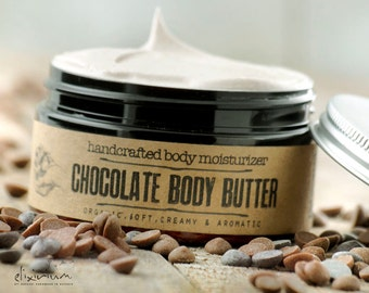 CHOCOLATE Body Butter~organic chocolate body moisturizer~organic body hydration~organic skin care~whipped butter~natural body butter