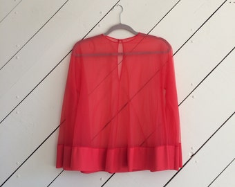 VINTAGE 1960s Bell Sleeve Top, Lingerie Top,
