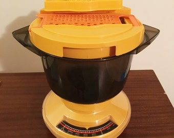 Vintage 1970s SABCO Yellow Gourmet Kitchen Scales with Food Processor Bowl and Attachments / Retro Scales Grater Juicer / Hand Mixer