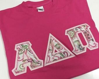 Sorority  Greek Letter Shirt Pink Paisley