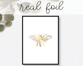Honeybee Print // Real Gold Foil // Minimal // Gold Foil Art Print // Home Decor // Modern Office Print // Insect Nature // Fashion Print