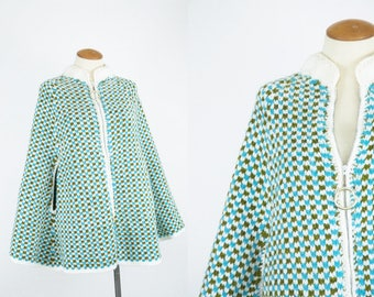 Vintage 60s Mod Sweater Cape // 70s Blue Green Knit Poncho // 1960s Vintage Clothing