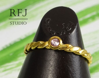 Flat Rope Lab Pink Diamond Gold Ring, 24K Yellow Gold Plated  2 mm CZ April Birthstone Ring, Pink Cubic Zirconia Gold  Flat Braided Ring
