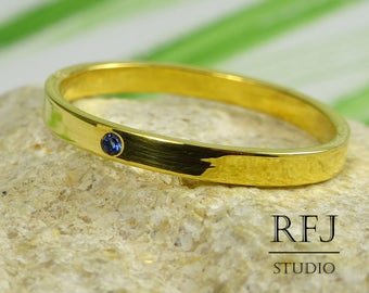 Narrow Lab Sapphire 24K Yellow Gold  Band, September Birthstone Gold Plated Jewelry 1.25mm Round Cut Blue CZ Band 2 mm Wedding Band Ring
