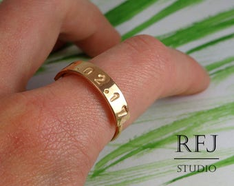 14K Rose Gold Plated Personalized Date Ring, Medium Size Custom 14K Gold Plated Number Birthday Ring, Bible Gold RIng Code Ring Digital Ring