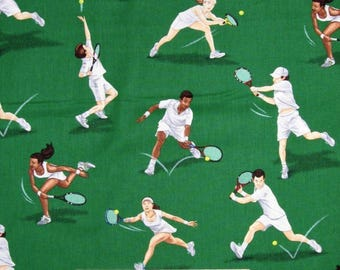 "Sports Fabric, Tennis Fabric: Timeless Treasures Sports Tennis Green 100% cotton fabric by the yard 36""x43"" (E288)"