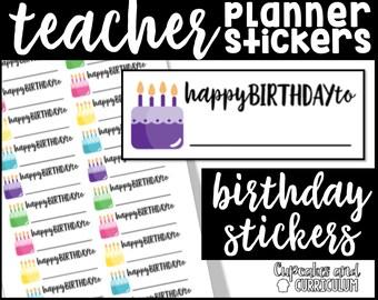 Teacher Planner Stickers, Happy Birthday Stickers, Erin Condren Teacher Planner Stickers