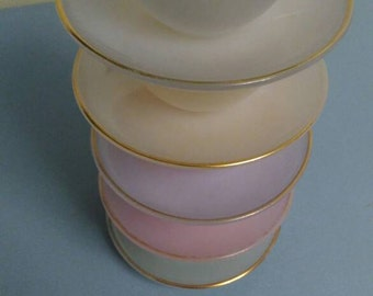 Vintage Arcopal Opale Harlequin espresso/small/demitasse tea cups and saucers