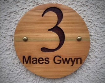Carved Round House Sign Plaque engraved Number personalised - Oak & Pine
