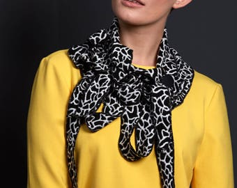 Rose - Black and White Soft Lightweight Ladies Scarf, Button and Go Collar,